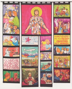 """We Will Go, Send Us,"" silk banner created by Thoma Swanson, OP, for the Seventh Triennial Conference (2007)"