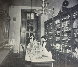 Sisters of Charity preparing medicines in the pharmacy of St. Vincent's Hospital, New York City, c. 1900. Courtesy of the Archives of the Sisters of Charity of New York.